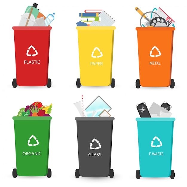 ゴミのリサイクルゴミ箱の種類 Premiumベクター
