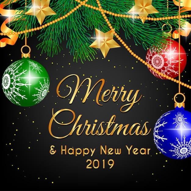 メリークリスマスデコレーションシャンデリアとスターゴールド Premiumベクター