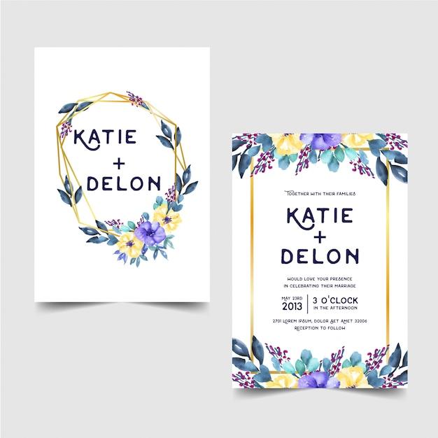 花の水彩の結婚式の招待状のテンプレート Premiumベクター
