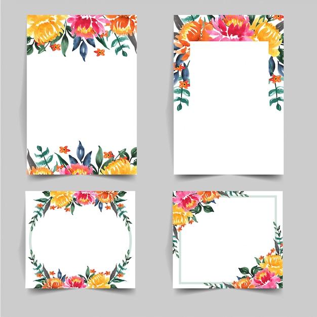 Набор акварельных прекрасных цветов для приглашения на свадьбу Premium векторы