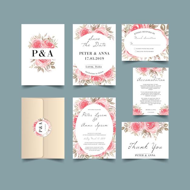 結婚式の招待状は、水彩、バラ、ピンク、ヴィンテージ Premiumベクター