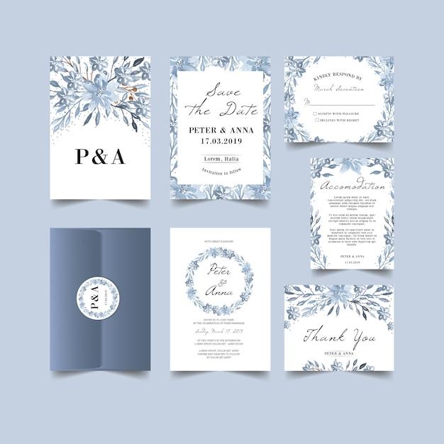 冬のテーマの結婚式の招待状 Premiumベクター