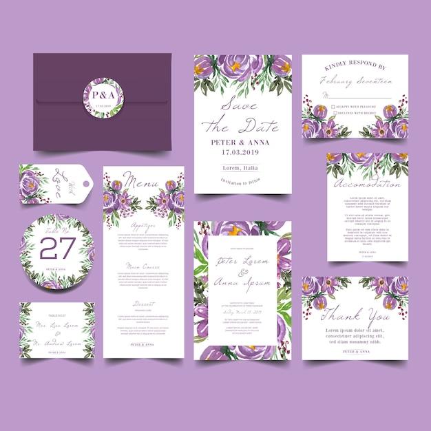 緑のブラシスプラッシュ結婚式招待状 Premiumベクター