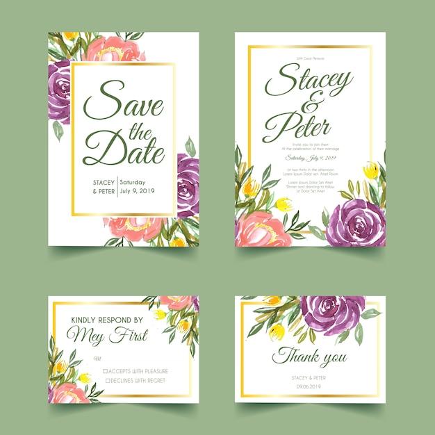 甘い花の水彩画の結婚式の招待状 Premiumベクター