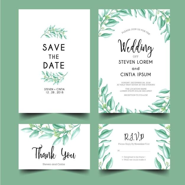 緑の葉の結婚式の招待状セット Premiumベクター