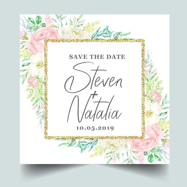 Акварель ботаническая цветочная рамка свадебное приглашение Premium векторы