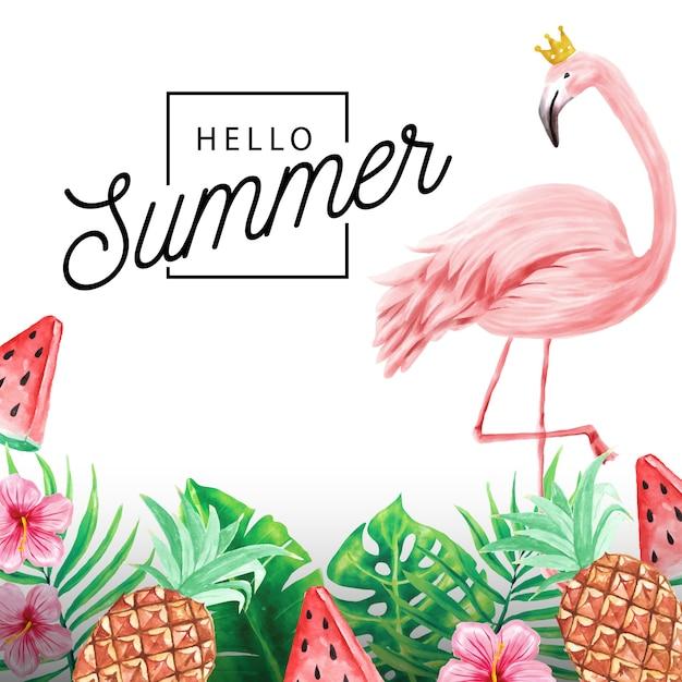 Привет летний фон тропических растений и фламинго Premium векторы