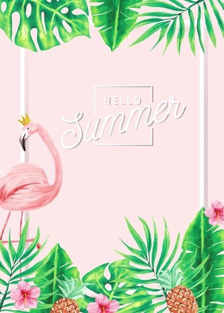 Летнее знамя фламинго и тропических листьев. Premium векторы