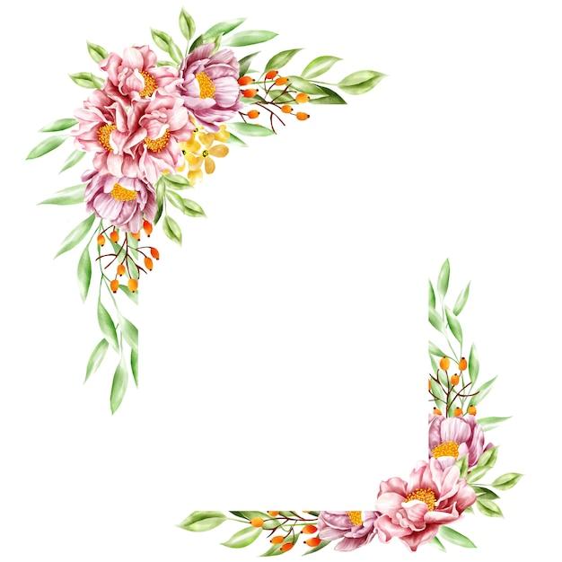 水彩花のフレーム Premiumベクター