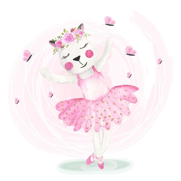 花冠と踊るかわいい猫 Premiumベクター
