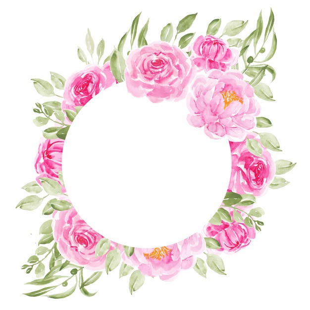 ピンクの牡丹の花サークル結婚式の招待状のフレーム Premiumベクター