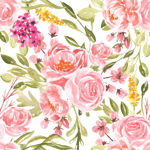 シームレスパターン水彩桃の花 Premiumベクター
