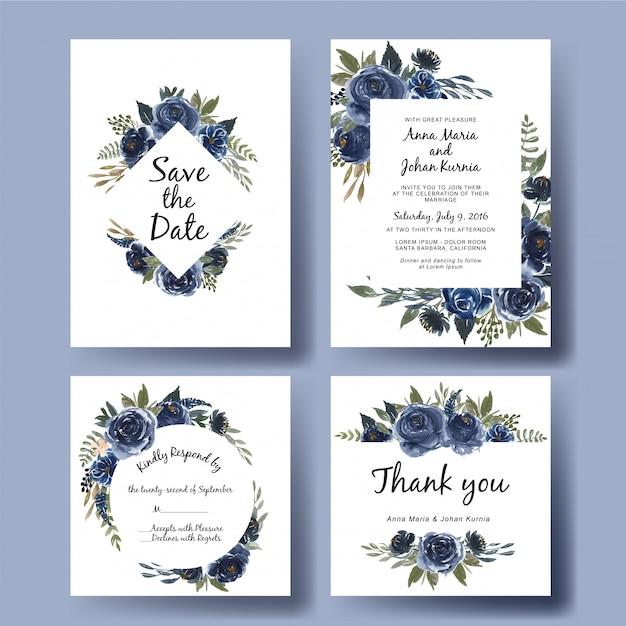 Свадебные приглашения набор шаблонов акварельный букет цветов темно-синий Premium векторы