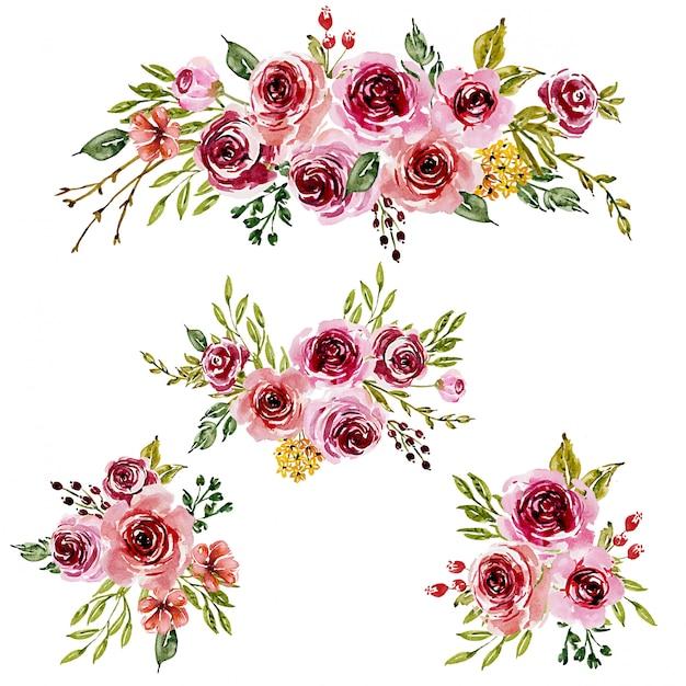グリーティングカードの甘いピンクの水彩生け花。 Premiumベクター