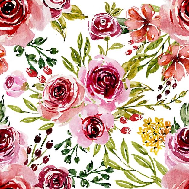 シームレスパターン甘いピンクの水彩花 Premiumベクター