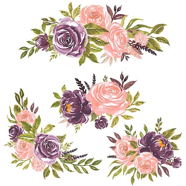 水彩花のセット手描きの花イラストピンクのバラと紫の花の花束 Premiumベクター