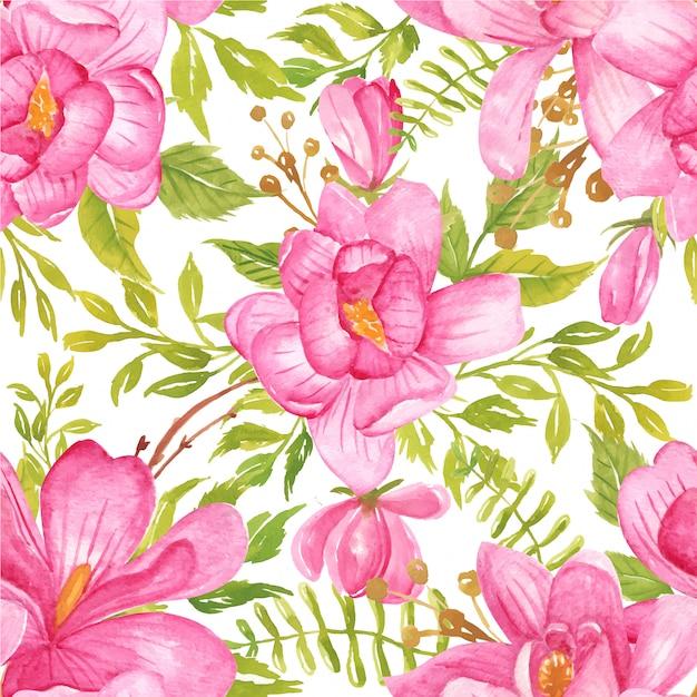 シームレスパターン水彩花マグノリアピンクと緑の葉 Premiumベクター