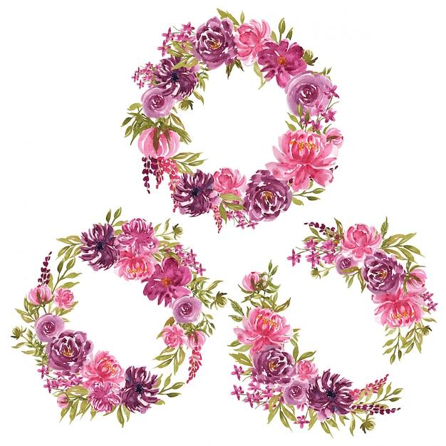紫とピンクの花とルーズブランチ水彩花の花輪のセット Premiumベクター