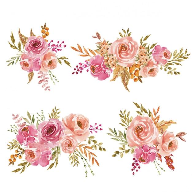 Набор розовых и персиковых акварельных цветов или букет для свадебного приглашения Premium векторы