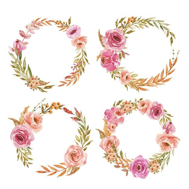 Набор розовых и персиковых акварельных цветов венок для свадебного приглашения Premium векторы