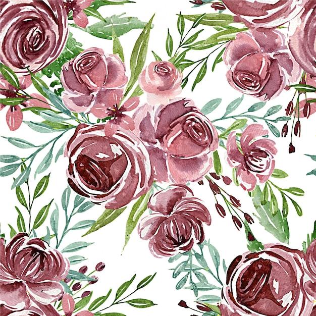 Безшовная картина акварели цветка фиолетовой для ткани или предпосылки Premium векторы