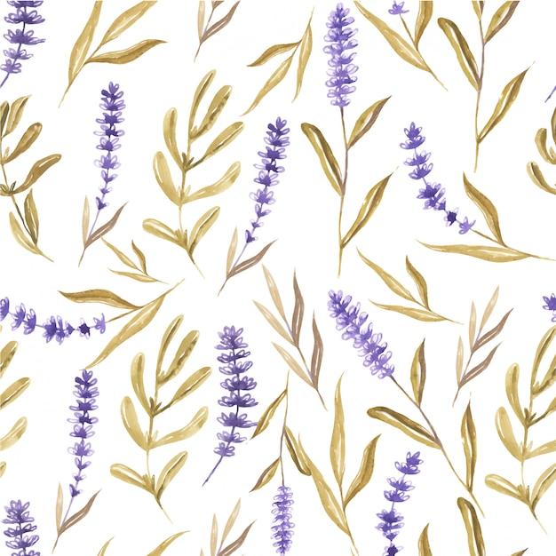 Бесшовный фон акварелью цветок лаванды и листьев Premium векторы