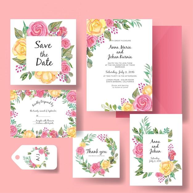 ローズピンクと黄色の水彩画の結婚式の招待状のテンプレート Premiumベクター