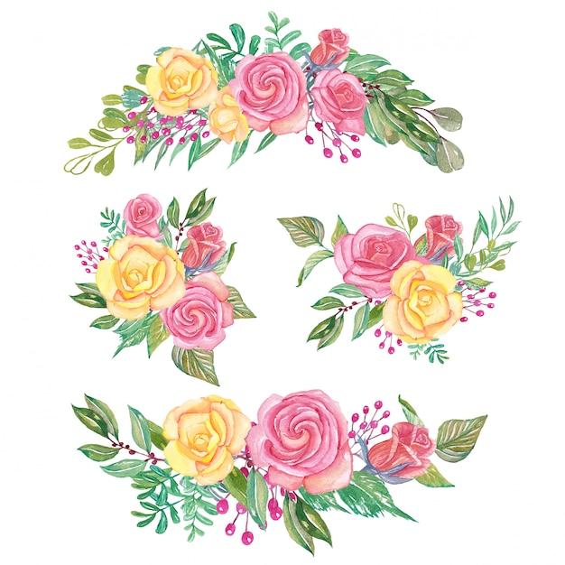 Набор розовых розовых и желтых акварельных цветочных композиций и букетов Premium векторы