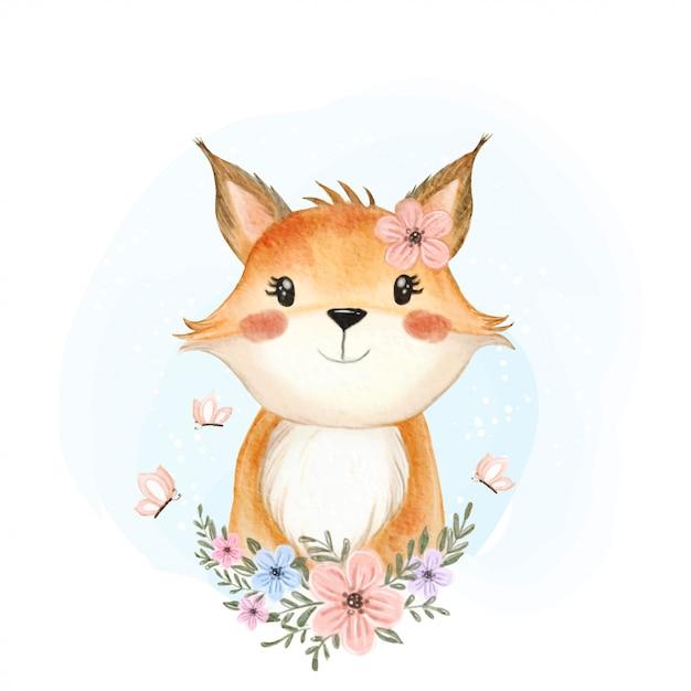 花と蝶の水彩イラストとかわいい赤ちゃんキツネ Premiumベクター
