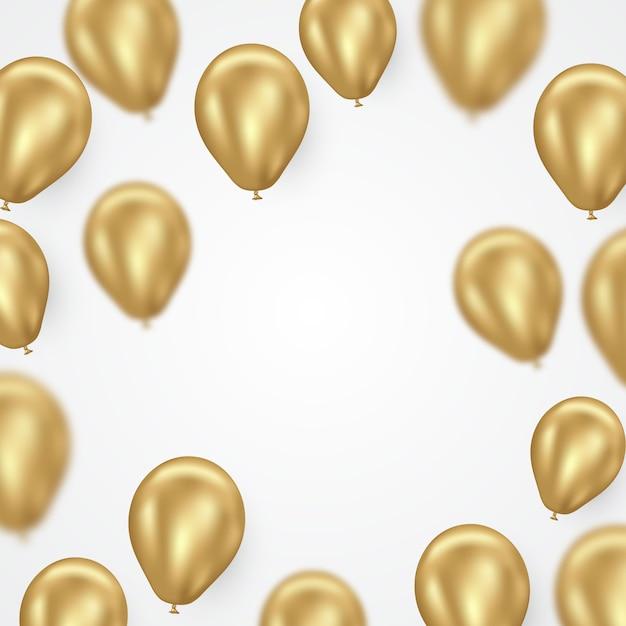 黄金のヘリウム風船のベクトルの背景 Premiumベクター