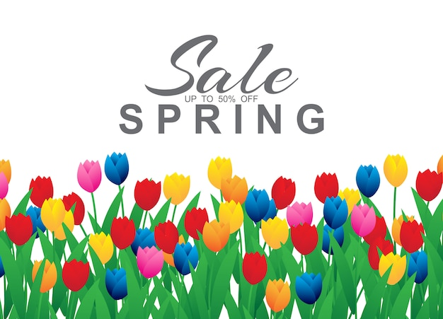 カラフルなチューリップの花と春販売バナー Premiumベクター
