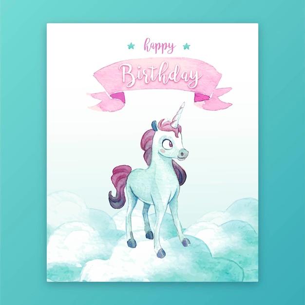 ユニコーンとかわいい誕生日カード 無料ベクター