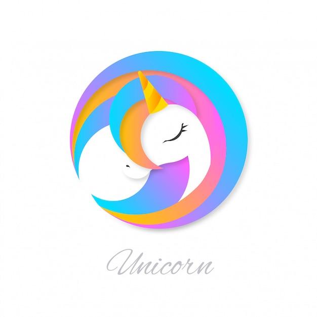 美しいカラフルなユニコーンのロゴ Premiumベクター