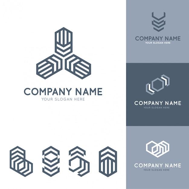 Коллекция абстрактных и современных серых логотипов с геометрическими фигурами Premium векторы