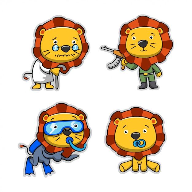 Сборник мультфильмов лев Premium векторы