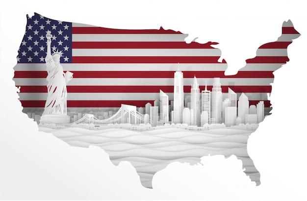 アメリカ合衆国、アメリカ合衆国のスカイラインのパノラマビュー Premiumベクター