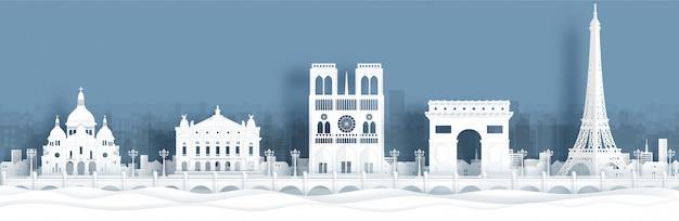 パリの世界的に有名なランドマークのパノラマのポストカードと旅行のポスター Premiumベクター