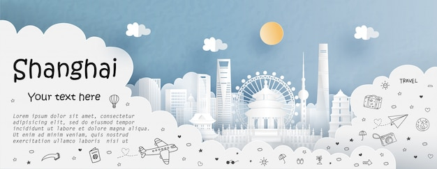 Тур и путешествие с путешествием в шанхай Premium векторы