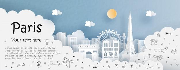 Тур и путешествие с путешествием в париж Premium векторы