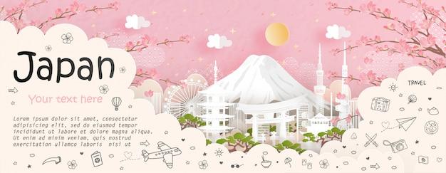 日本の旅行と旅行の広告とランドマーク Premiumベクター