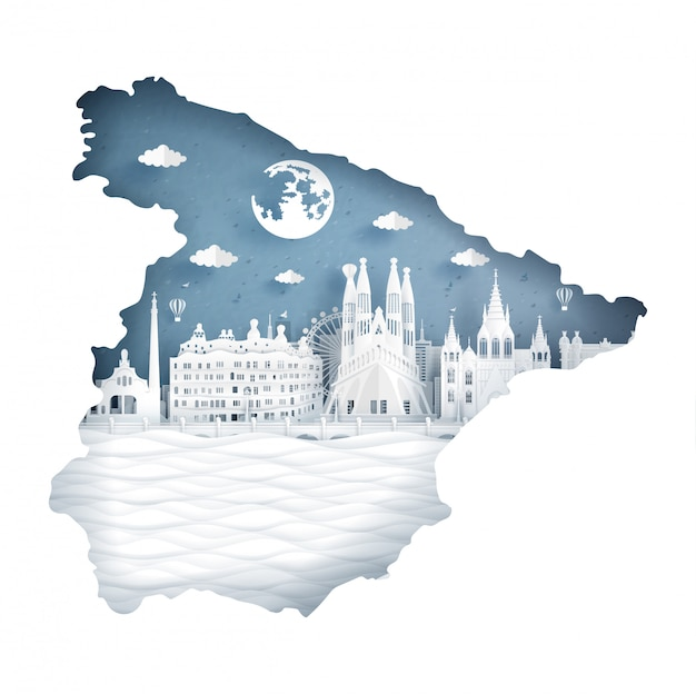 フラグと有名なランドマークとスペイン地図の概念 Premiumベクター