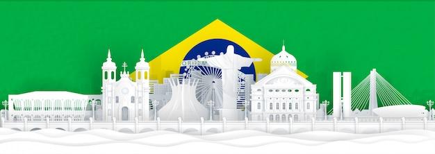 Флаг бразилии и знаменитые достопримечательности в стиле вырезки из бумаги Premium векторы