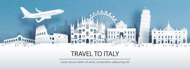 Путешествие в италию со знаменитой достопримечательностью. Premium векторы