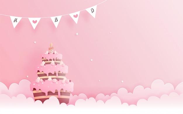Открытка с тортом в стиле бумаги вырезать. векторная иллюстрация Premium векторы