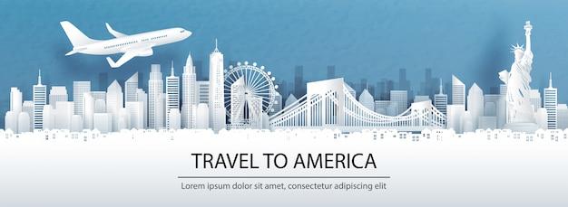 紙のカットスタイルのランドマークとアメリカの概念への旅行 Premiumベクター