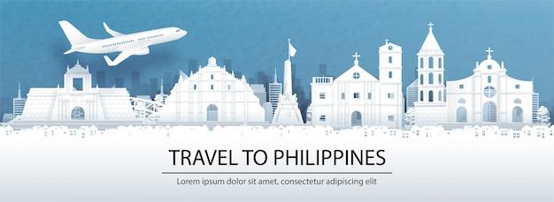 Путешествие на филиппины концепция с достопримечательностями в стиле вырезки из бумаги Premium векторы