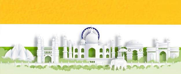 Панорама открытки всемирно известных достопримечательностей индии с флагом индии, зеленый и оранжевый Premium векторы