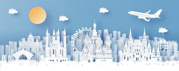 Панорамный вид россии и городской пейзаж с всемирно известными достопримечательностями Premium векторы