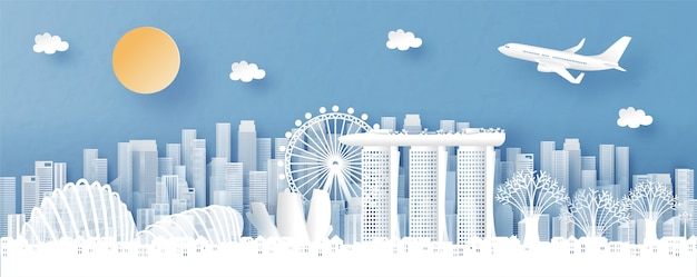 Панорамный вид на сингапур и городской пейзаж со всемирно известными достопримечательностями Premium векторы