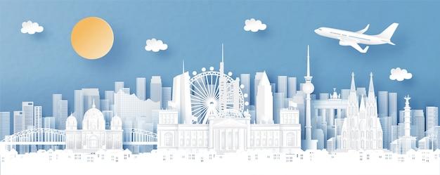 Панорамный вид на берлин, германию и город с всемирно известными достопримечательностями Premium векторы
